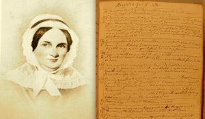 Left: Mary White circa 1840 (Boylston Historical Society); right, a page from White's diary (University of Delaware Special Collections)